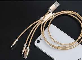 Sleva 43% - Praktický USB kabel 3v1  GOLF GC-39, tři koncovky: micro USB, lighting (pro zařízení…