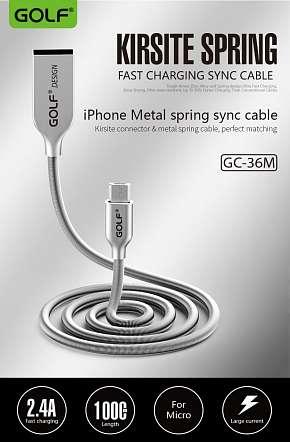Sleva 41% - Pevný kovový USB kabel GOLF GC-36 s konektorem lightning pro zařízení Apple či micro…