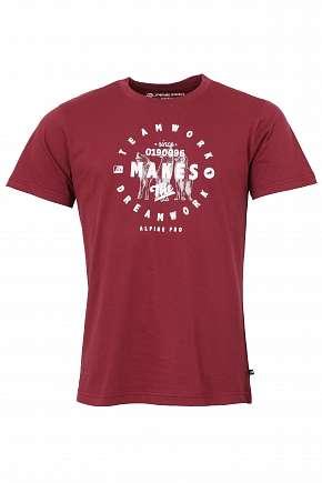 Sleva 67% - Pánské triko Alpine Pro Reuben z pevné a prodyšné bavlny v krásné cihlové barvě ve…