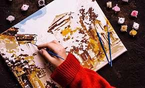 Sleva 50% - Originální malovaný obraz podle vlastní fotografie s kompletní malířskou sadou -…