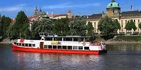 "Sleva 36% - Vyhlídkové plavby v Praze na Vltavě s výkladem či rautem ""all you can eat"" a živou…"